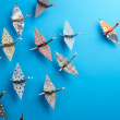Group Of Origami Birds - Stockfoto