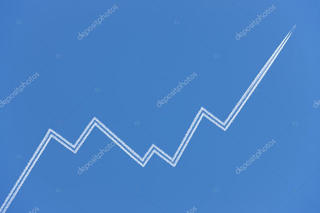 Business graph, made of airplane vapor trail. — Stock Photo #6514108