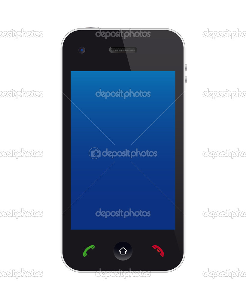 Touchscreen phone isolated on white background — Stock Vector #6045667