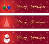 Tres banderas de navidad — Vector de stock