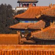 Jinshang Park from Forbidden City Yellow Roofs Gugong Palace Bei - Stock Photo