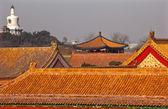 Beihai Stupa Blue Pavilion Forbidden City Yellow Roofs Gugong Pa — Stock Photo