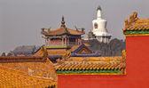 Beihai Stupa Yellow Roofs Gugong Forbidden City Palace Beijing C — Stock Photo