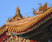 Roofs Figurines Gugong Forbidden City Palace Beijing China — Stock Photo