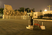 Mao Tse Tung Statue Tiananmen Square Beijing China Night Policem — Stock Photo