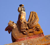 Roof Figurine Yellow Roofs Gugong Forbidden City Palace Beijing — Stock Photo