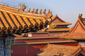 Roof Figurines Yellow Roofs Gugong Forbidden City Palace Beijing — Stock Photo