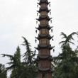 Thin Tall Brown Pagoda Wenshu Yuan Buddhist Temple Chengdu Sichu — Stock Photo