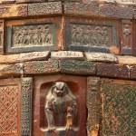 Ancient Crouching Tiger Dancer Bricks Details Iron Buddhist Pago — Stock Photo