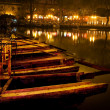 Wooden Boats Houhaid Lake Night Beijing China — Stock Photo