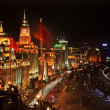 Stock Photo: Shanghai Bund at Night ChinFlags Cars with Trademarks obscured