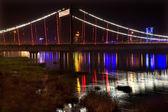 Jiangqun Bridge at Night Close Up with Reflections Fushun China — Stock Photo