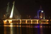 Tianhu Bridge Fushun Liaoning China at Night with Reflections — Stock Photo