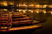 Wooden Boats Houhaid Lake Night Beijing China — Stock Photo