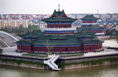 Ancien temple immeubles jinming lac kaifeng chine — Photo