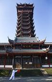Tai Chi in Front of Jiutian Tower Pagoda Chengdu Sichuan China — Stock Photo
