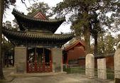 Pavilon a památník tablety mencius chrám shandong, čína — Stock fotografie