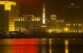 Old Weather Station Reflection Shanghai Bund at Night — Stock Photo