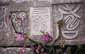 Antiguos caracteres chinos con melocotón florece chengdu sichuan, china — Foto de Stock