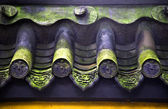 Roof Tile Faces Green Moss Baoguang Si Shining Treasure Buddhist — Stock Photo
