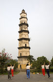 Exercising in front of Great Mercy Pagoda Shaoxing China — Stock Photo