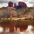 Stock Photo: Cathedral Rock Canyon Oak Creek Reflection SedonArizona