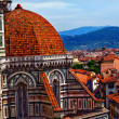 Duomo Cathedral Basilica From Giotto's Bell Tower Florence Italy - Stock Photo