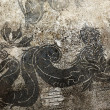 Ancient Roman Dragon Mosaic Floor Ostia Antica Rome Italy - Stock Photo