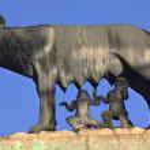 Capitoline Wolf Romulus Remus Statue Forum Rome Italy — Stock Photo #6078318