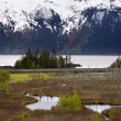 Stock Photo: Snow Mountain Range Two Lakes OceAnchorage Alaska
