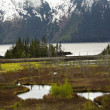 Stock Photo: Snowy Mountain Range Two Lakes Seward Highway Anchorage Alaska