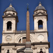 Trinita dei Monti French Church Top of Spanish Steps Obelisk Rom - Stock Photo