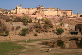 Amber Fort Jaipur India Water Reflection — Foto Stock