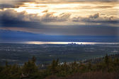 Anchorage Alaska at Sunset from Flattop Mountain — Stock Photo