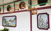 Bamboo Cages Wall Hong Kong Bird Market — Stock Photo