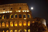 Colosseum Large Moon Details Rome Italy — Stock Photo