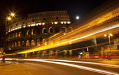 Colosseum Street Abstract Night Moon Rome Italy — Stock Photo