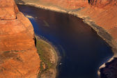 Small Fishing Boat Horseshoe Bend Glen Canyon Overlook Colorado — Stock Photo