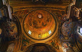 Goldon Baroque Dome and Paintings Gesu Jesuit Church Rome Italy — Stock Photo