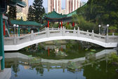 Chinese Water Garden Bridge Wong Tai Sin Taoist Temple Kowloon H — Stock Photo