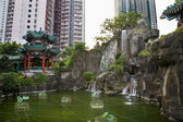 Water Garden High Rise Buildings Wong Tai Sin Taoist Temple Kowl — Stock Photo