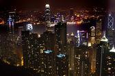 Hong kong skyline bei nacht vom victoria peak — Stockfoto
