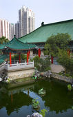 Red Pavilion Good Fortune Water Garden Wong Tai Sin Taoist Templ — Stock Photo