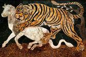 Roman Mosaic Tiger Hunting Capitoline Museum Rome Italy — Stock Photo