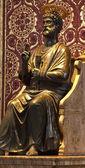 Ancient Bronze Statue Sculpture Saint Peter Vatican Rome Italy — Stock Photo