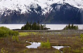 Snow Mountain Range Two Lakes Ocean Anchorage Alaska — Stock Photo