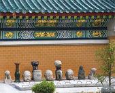 Dragon muur details steen boeddha's wong tai sin taoïstische tempel ko — Stockfoto