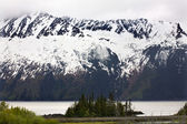 Snow Mountain Close Up Seward Highway Anchorage Alaska — Zdjęcie stockowe