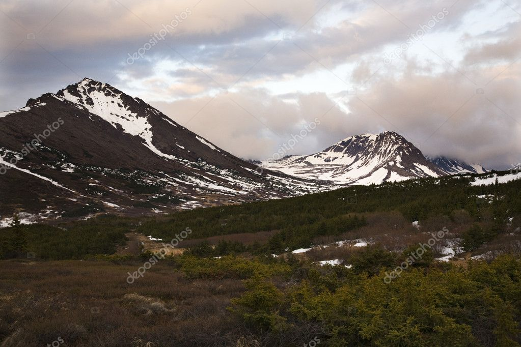 Flattop Mountain Anchorage Alaska at Sunset, snow mountains  Stock Photo #6077866
