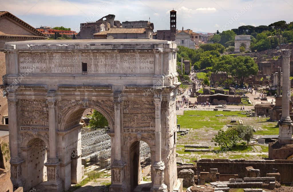 Septemus Severus Arch Forum Rome Italy Stone arch built memory of Emperor Septemus Severus reigned from 193-211AD  Titus Arch Backgroun — Stock Photo #6078379